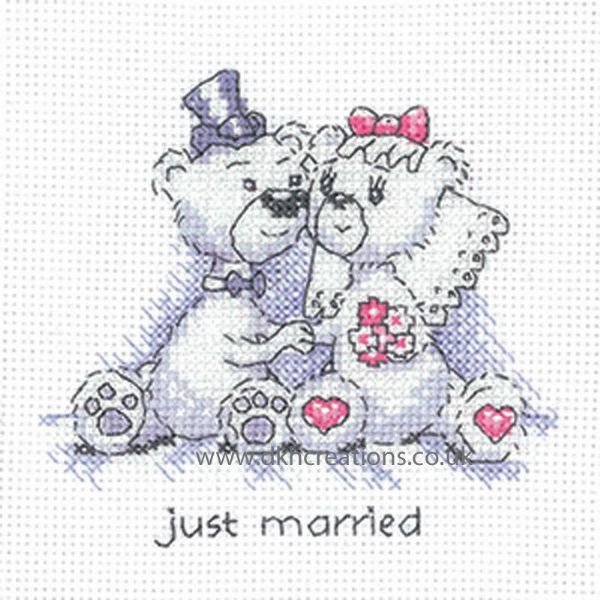 Peter Underhill Justin & Justine Just Married Greeting Card Cross Stitch Kit